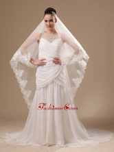 Lace Appliques One Tier Cathedral Tulle Stylish Wedding Veil RR091401FOR