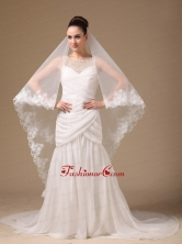 Lace Appliques One Tier Cathedral Tulle Stylish Wedding Veil RR091402FOR