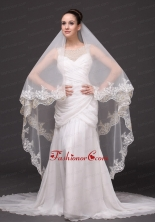 Lace Appliques Tulle Bridal Veils For Wedding HM8814FOR