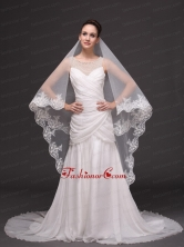 Lace Appliques Tulle Graceful Wedding Veil RR091410FOR