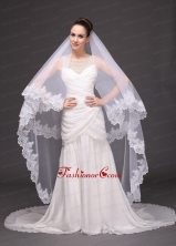 Lace Appliques Two Tier Tulle Drop Veil For Wedding RR091411FOR