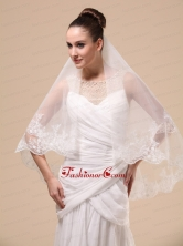 Lace Appliques Two Tier Tulle Popular Wedding Veil RR091403FOR