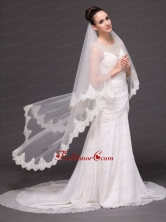 Lace Over Bridal Veil Two Tier For Wedding HM8818FOR