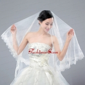 One-Tier Angle Cut Wedding Veils with Lace Appliques Edge ACCWEIL011