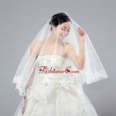 One-Tier Cut Edge White Classic Chapel Bridal Veils ACCWEIL031FOR