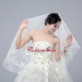 One-Tier Drop Veil Cut Edge 2014 White Bridal Veils  ACCWEIL018FOR