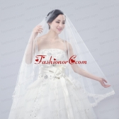 One-Tier Drop Veil  Scalloped Edge Angle Cut Wedding Veils ACCWEIL014FOR