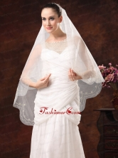 One Tier Embroidery Tulle Graceful Wedding Veils HM2010FOR