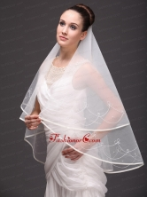 One Tier Organza With Embroidery Bridal Veil On Sale B1.5M2001FOR