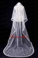 One-Tier Oval Lace Edge Bridal Veils for Wedding Party ACCWEIL024FOR