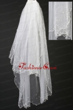 Organza Pearl Trim Edge Wedding  Bridal Veil RR111618FOR