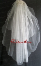 Pearl Decorate Beautiful Tulle Wedding Veil RR111610FOR