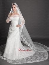 Perfect Lace Appliques Edge Organza Wedding Veil UNION29T012FOR