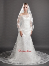 Perfect Lace Appliques Tulle Graceful Wedding Veil UNION29T011FOR