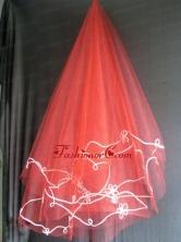 Red Tulle Wedding Veil RR111614FOR