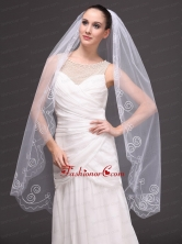 Romantic One Tier Cathedral Wedding Veil With Embroidery Edge HM8852FOR