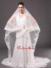 Romantic One Tier Cathedral Wedding Veil With Lace Applique Edge HM8851FOR