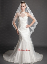 Royal Discount Tulle Bridal Veil With Lace UNION29T017FOR