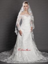 Royal Lace Appliques Tulle Bridal Veil UNION29T013FOR