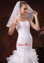 Taffeta Trim Edge Discount Tulle Bridal Veils For Wedding HM8828FOR