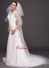 Three Tier Tulle With Pearls Drop Veil RR091421FOR