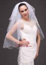 Three Tier Tulle With Pearls Wedding Veil RR091416FOR