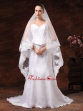 Tulle With Lace Applique Edge Graceful Wedding Veil HM8868FOR