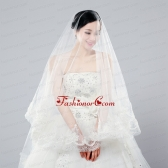 Two-Tier Drop Veil Tulle Lace Appliques Edge Wedding Veils ACCWEIL013FOR