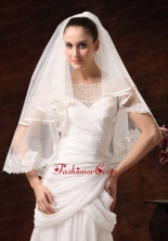 Two Tier Elbow Wedding Veil With Scalloped Edge HM8606FOR