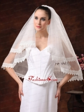 Two Tier Lace Edge And Tulle For Wedding HM8821FOR