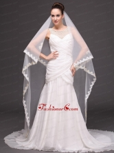 Two Tier Lace For Bridal Veil For Wedding HM8816FOR