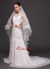 Two Tier Organza Bridal Veil On Sale HM2024-3FOR