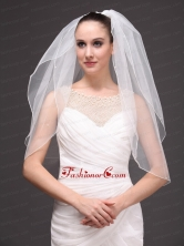 Two Tier Tulle Elbow Length Wedding Veil With Cut Edge HM5825FOR