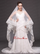 Two Tier Tulle Wedding Veil With Appliques Decorate HM8028FOR