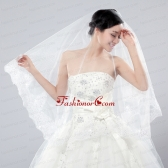 Two-Tier Tulle White Bridal Veils with Lace Edge ACCWEIL026FOR