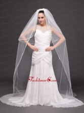 Two Tier Tulle White Chapel length Bridal Veils HM3022FOR