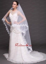 Two Tier Tulle With Lace Appliques Bridal Veil RR091420FOR