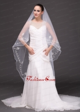 Two Tier Tulle With Pearls Fingertip Veil RR091422FOR
