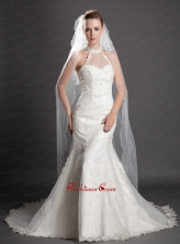 Two Tier Tulle With Pearls Fingertip Veil UNION29T016FOR