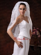 Two Tier With Embroidery Tulle Graceful Wedding Veil HM1.5M-1FOR