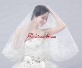 TwoTier Lace Edge Wedding Veils with Angle Cut ACCWEIL007FOR