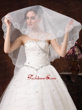 White Lace Appliques And Two Tier Organza Veil For Modest Wedding HM8808FOR