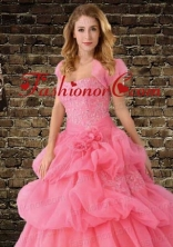 The Super Hot Watermelon Red Organza Special Occasion Quinceanera Jacket ACCJA112FOR