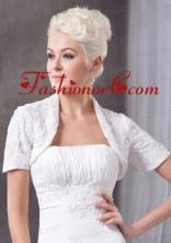 2014 White Short Sleeves Chiffon Jacket ACCJA057FOR