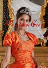 2015 Luxurious Short Sleeves and Open Front Quinceanera Jacket in Orange ACCJA041FOR