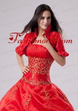 2015 Most Popular Open Front Short Sleeves Quinceanera Jacket in Red ACCJA025FOR