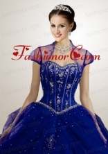 Appliques Tulle in Navy Blue Bolero Quinceanera Jackets Wedding with Beading  ACCJA075FOR