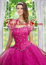 Beautiful Beading and Appliques Hot Pink Tulle Quinceanera Jacket ACCJA106FOR