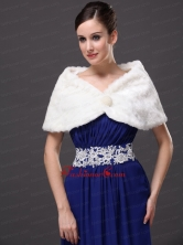 Beautiful Faux Fur Wedding V Neck Party Prom Cocktail Wraps White RR0915042FOR
