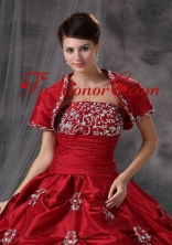 Beautiful Open Front Red Quinceanera Jacket with Appliques ACCJA031FOR
